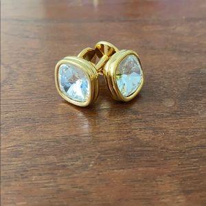 Swarovski crystal cufflinks gold tone